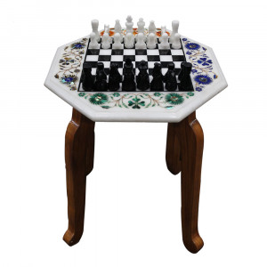 """12"""" x 12"""" Inch Marble Chess Game And Wooden Leg Stand"""