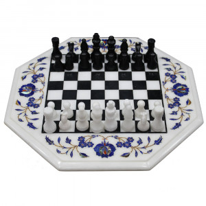 Marble Inlay Chess Board With Wooden Leg Furniture