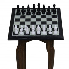 Vintage Black Marble Chess Set Inlaid Semi Precious Stones