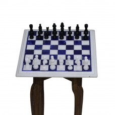 Handmade Marble Chess Set Inlaid Lapis Lazuli Gemstone