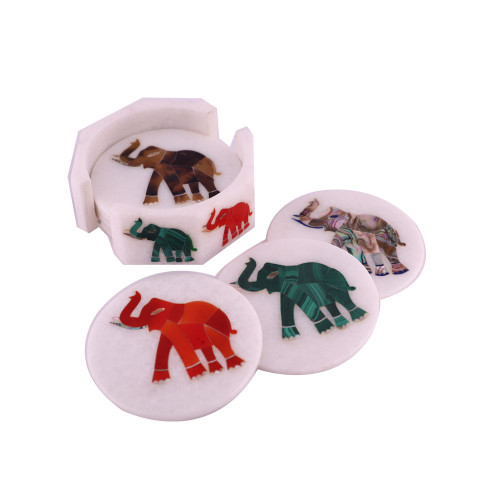 Elephant Inlaid White Marble Tea Cup Coaster Set