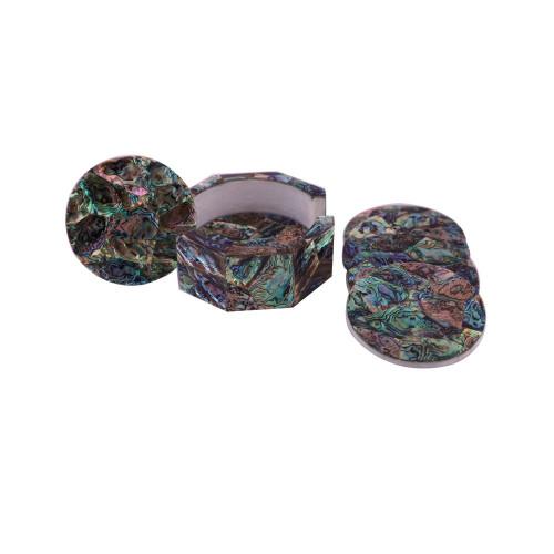 Handmade Cool Drink Coasters Pietra Dura Paua Shell