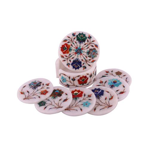 Handmade Handicrafts Round White Marble Inlay Coasters