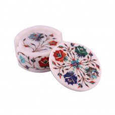 Handmade Handicrafts Round White Marble Inlay Coasters