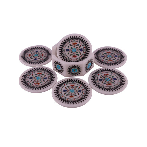 Round Marble Table Coaster Sets Inlaid With Semiprecious Stones