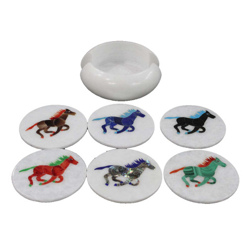 White Marble Coaster Inlaid Horse Marquetry Art