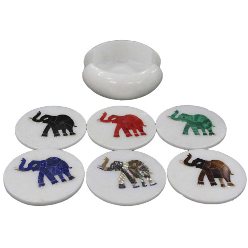 Round Marble Coasters Inlaid Elephant Marquetry Art Design