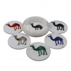 Camel Marquetry Art Inlay White Marble Coaster Set