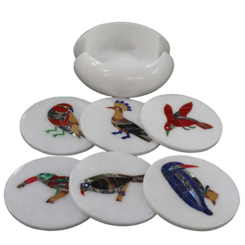 Bird Marquetry Art Inlay Round White Marble Coaster Set