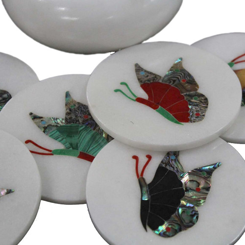 White Marble Drink Coasters Inlaid Butterfly Art Work