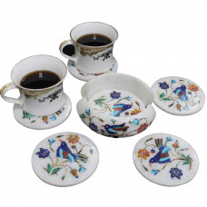 Unique Tea Coaster Set Inlaid Semiprecious Gemstones