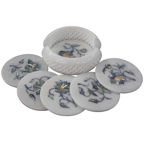 Antique Flower Art Inlay White Marble Coaster Set