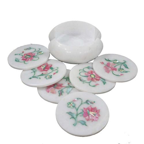 Antique Pietra Dura Art Inlay White Marble Coaster