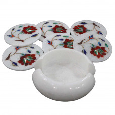 Real Gemstones Inlaid White Marble Coaster Set