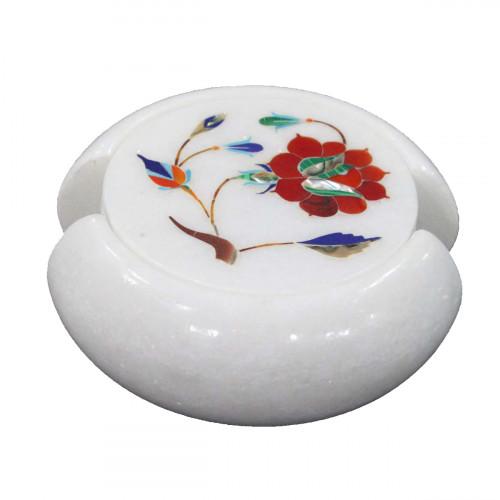 Real Gemstones Inlaid White Marble Coaster Set