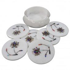 Antique Flower Design Inlay Round Marble Coaster Set