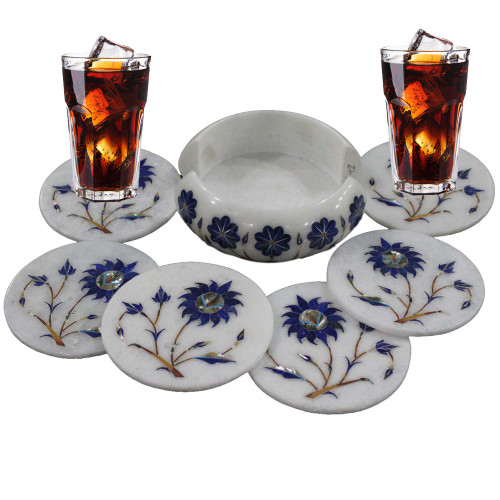 Beautiful Serving White Marble Coaster Set For Home