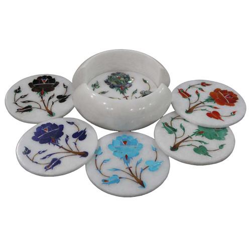 Round White Marble Coaster Set Inlaid Flower Pietra Dura Art