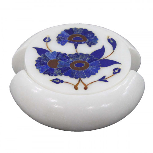 Antique White Marble Coaster Inlaid Lapislazuli Gemstone