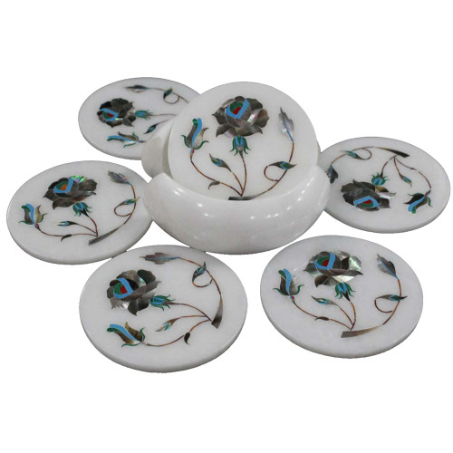 Round Marble Coaster Sets Inlaid Mother of Pearl Gemstone