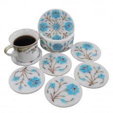 Turquoise Gemstone Inlaid White Marble Coaster Set