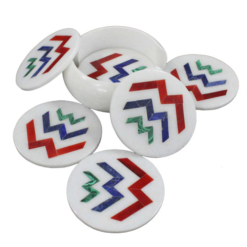 Strong Gemstones Inlaid Round Marble Cool Drink Coaster Set