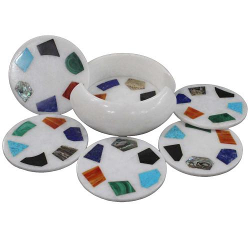 White Marble Coaster Set Inlaid Strong Gemstone