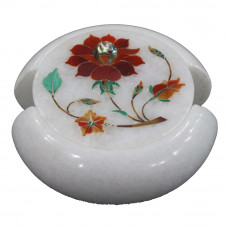 Carnelian Gemstone Inlaid Round White Marble Coaster Set
