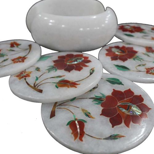 Carnelian Gemstone Inlaid Round White Marble Coaster Set