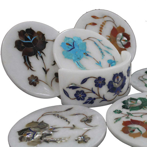 Antique Flower Marquetry Art Inlaid White Marble Coaster