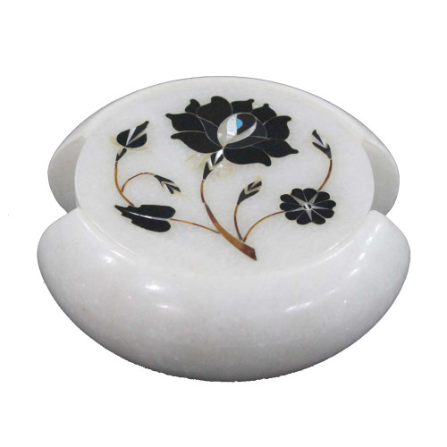 Home Decorative Round White Marble Coaster Inlay Black Onyx