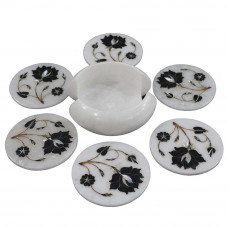 Home Decorative Round White Marble Coaster Inlay Black Onyx