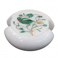 Beautiful Bird Pietra Dura Art Inlay Coaster Set