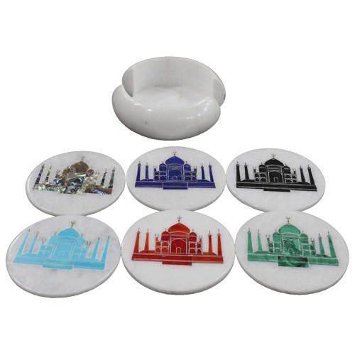 Taj Mahal Pietra Dura Work Inlay White Marble Coaster Set