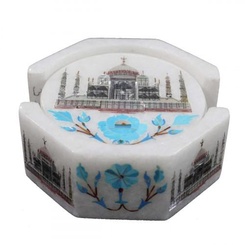 Round White Marble Coaster Inlaid Turquoise Gemstone