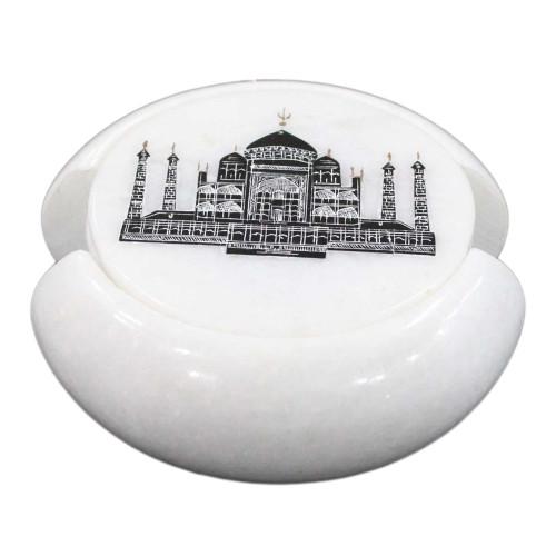 White Marble Beverage Coaster Inlaid Taj Mahal Art Design