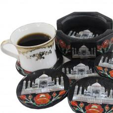 Round Black Marble Coaster Inlaid Taj Mahal Mosaic Art Work
