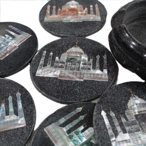 Unique Taj Mahal Inlaid Black Marble Tea Coaster Set