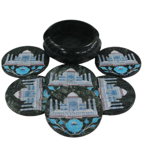 Turquoise Gemstone Inlaid Round Black Marble Coaster Set