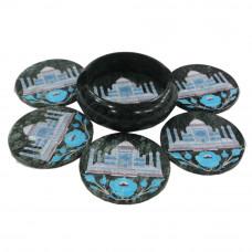 Turquoise Gemstone Inlaid Round Black Marble Coaster Set