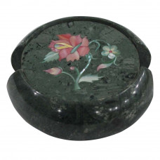 Round Green Marble Coaster Inlaid Flower Marquetry Art