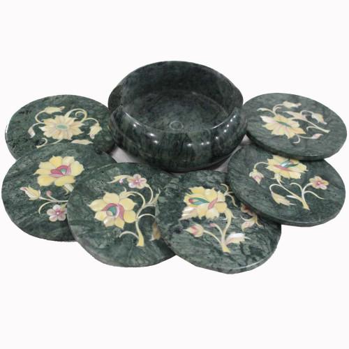 Semiprecious Gemstones Inlaid Green Marble Tea Coaster Set