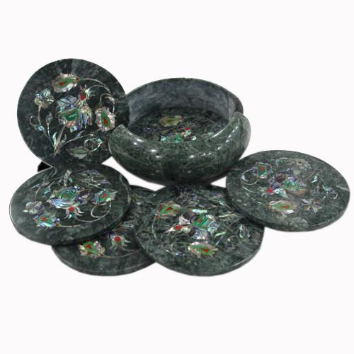 Green Marble Table Coaster Set Inlaid Paua Shell