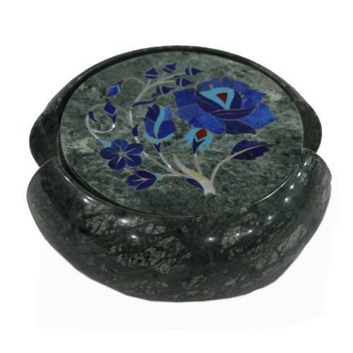 Lapislazuli Gemstone Inlaid Green Marble Cool Drink Coasters