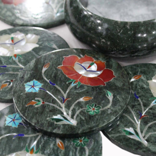 Carnelian Gemstone Inlaid Cool Drink Coasters