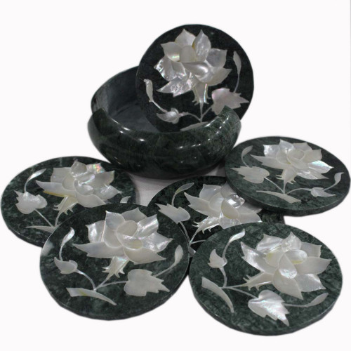 Green Marble Tea Coaster Set Inlaid Flower Marquetry Art