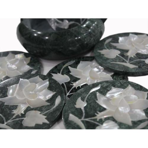 Green Marble Tea Coaster Set Inlaid Flower Marquetry Art