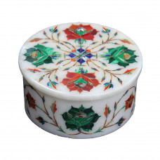Round White Marble Coasters With Holder Inlaid Semiprecious Stones