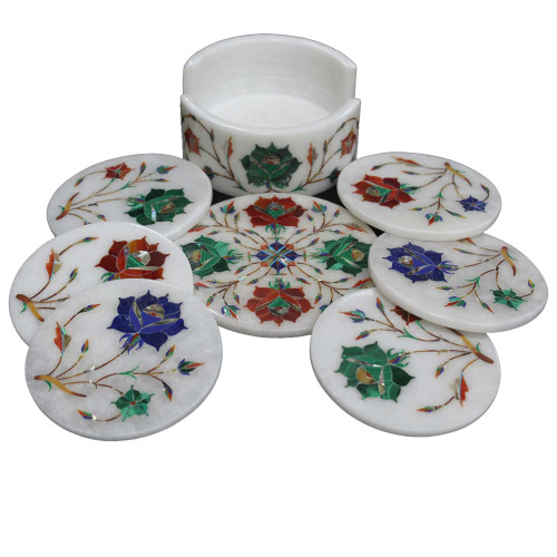 Round White Marble Coasters With Holder Inlaid Semiprecious Stones