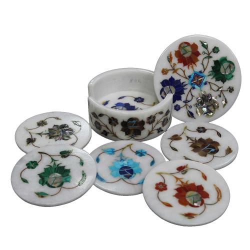 Antique Round Marble Coasters Inlaid Flower Marquetry Art Work